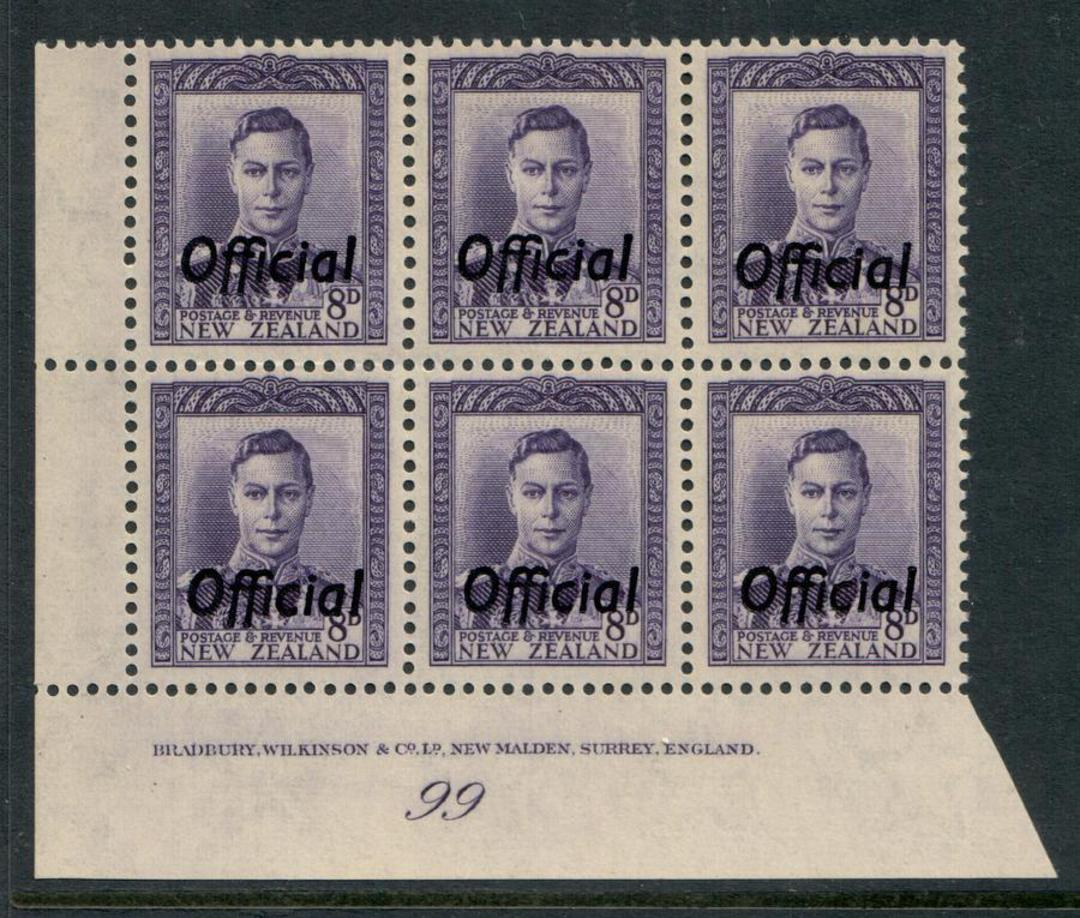 NEW ZEALAND 1938 Geo 6th Official 8d Violet. Plate 99. - 56534 - UHM image 0