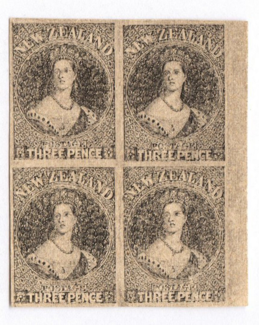 NEW ZEALAND 1855 Full Face Queen Hausberg Proofs in blocks of four. Eight blocks. - 37907 - image 7