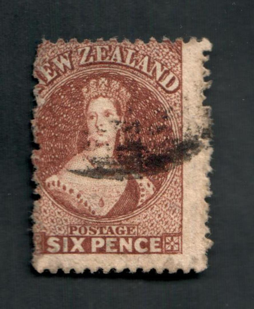 """NEW ZEALAND 1862 Full Face Queen 6d Brown. The only """"fault"""" is an unpleasant postmark that nevertheless leaves the face and most image 0"""