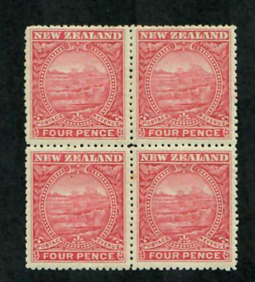 NEW ZEALAND 1898 Pictorial 4d Rose. Block of 4. Two never hinged. - 74849 - UHM image 0