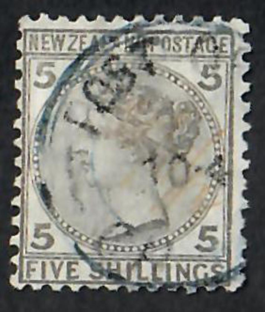NEW ZEALAND 1874 Victoria 1st First Sideface 5/- Grey. A tidy copy. - 10026 - FU image 0