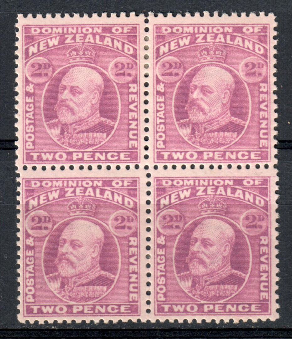 NEW ZEALAND 1909 Edward 7th 2d Mauve. Block of 4. - 79548 - LHM image 0