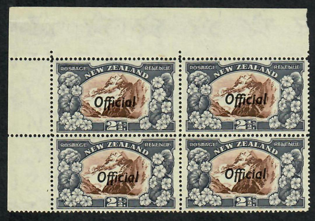 NEW ZEALAND 1935 Pictorial Official 2½d Mt Cook. Corner Block of 4. - 21817 - UHM image 0