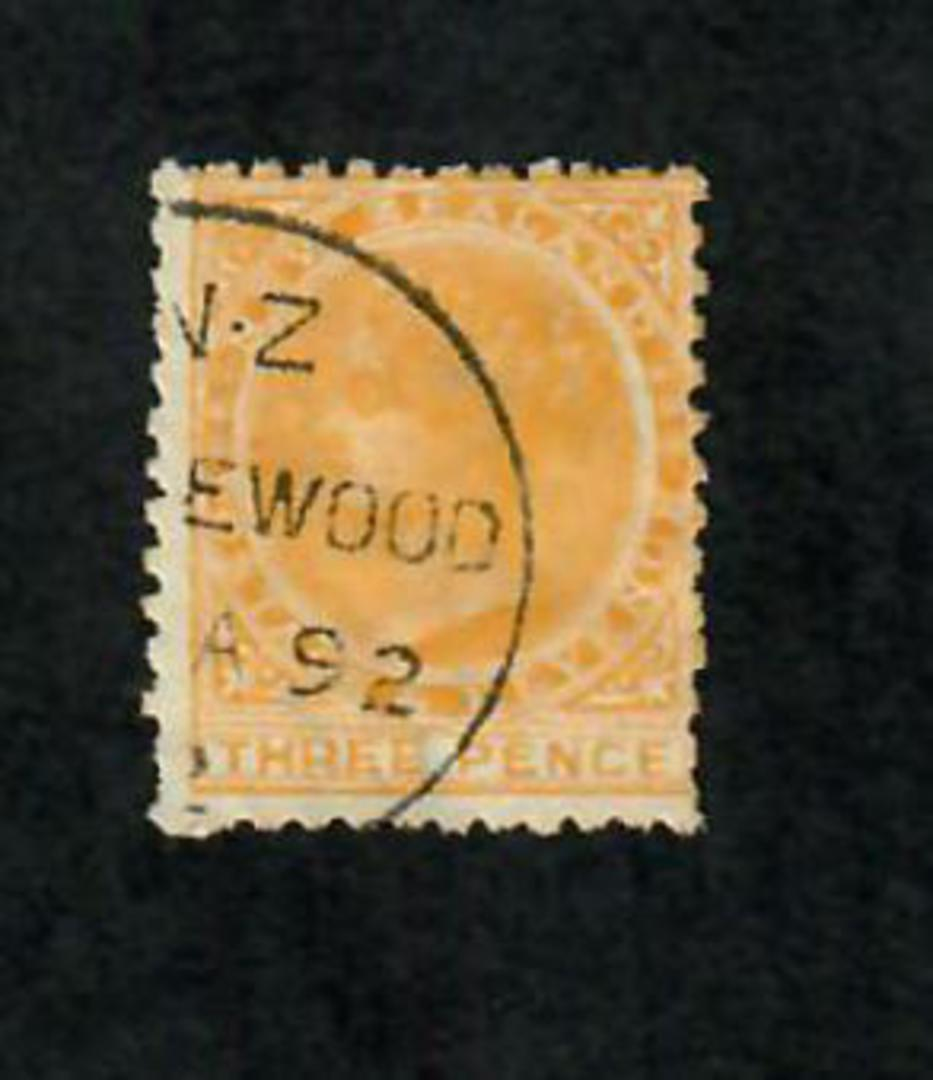 NEW ZEALAND 1882 Victoria 1st Second Sideface 3d Yellow. Perf 12 x 11½. Life Insurance Paper with 4mm Watermark. Postmark dated image 0