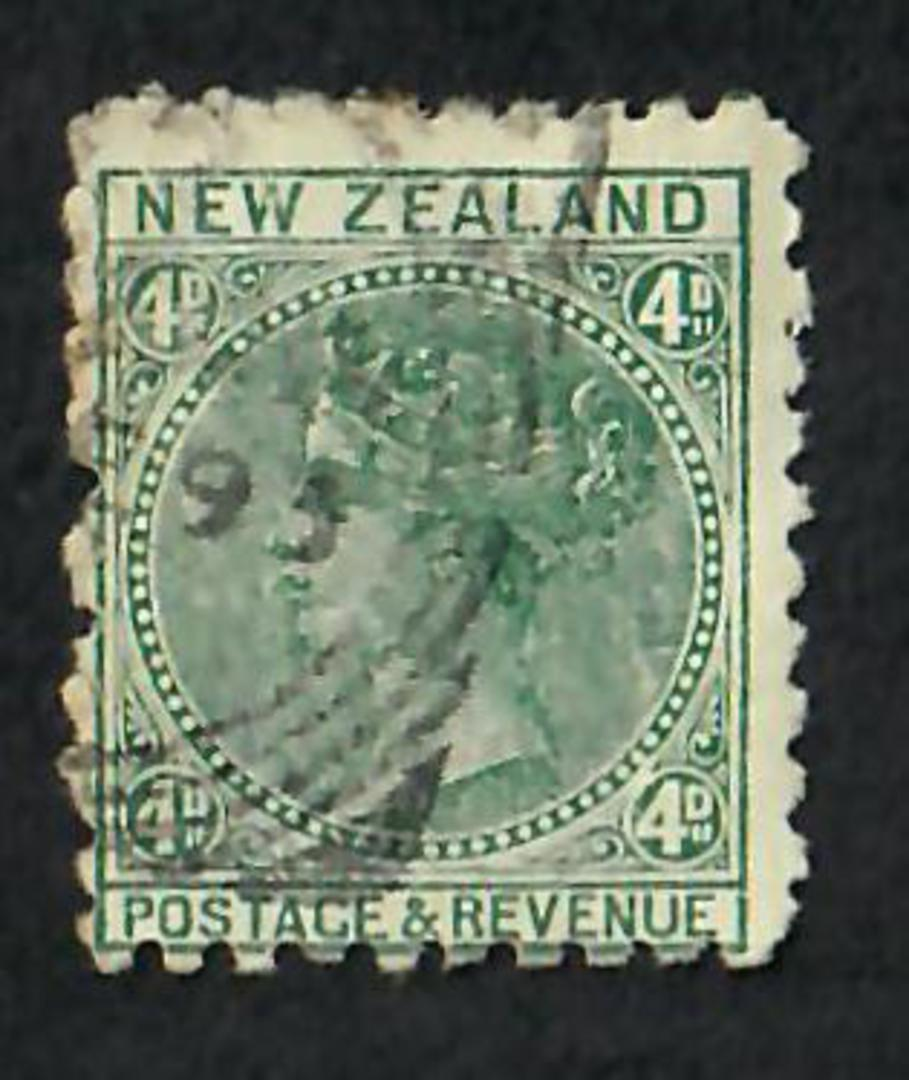 NEW ZEALAND 1882 Victoria 1st Second Sideface 4d Green. Second setting in Brown-Red. Trapps Waterproofs. - 3953 - Used image 0