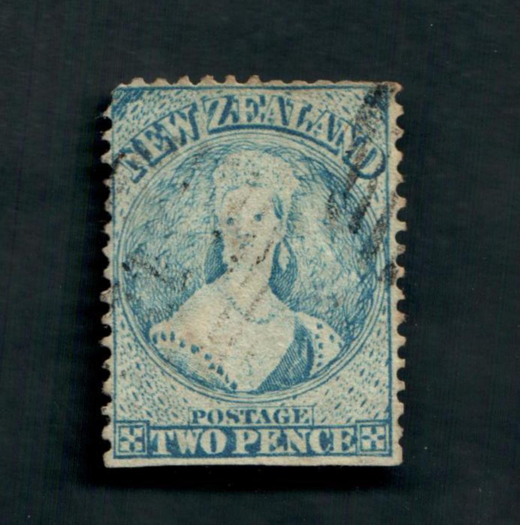 NEW ZEALAND 1862 Full Face Queen 2d Blue. Perf 12½.  Watermark NZ. Advanced plate wear. Postmark just touching the face. Light. image 0