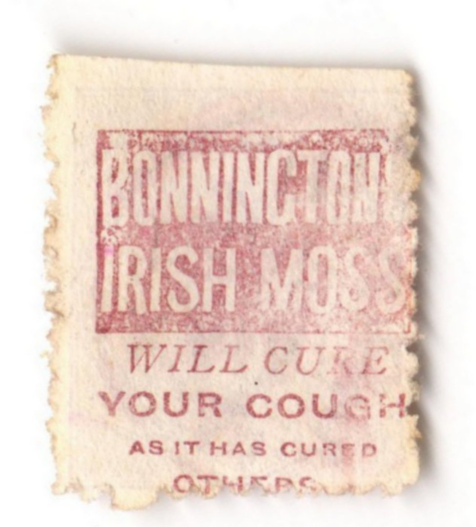 NEW ZEALAND 1882 Victoria 1st Second Sideface 2d Mauve. Perf 10. Secnd setting. Bonnington's Irish Moss will cure your cough as image 0