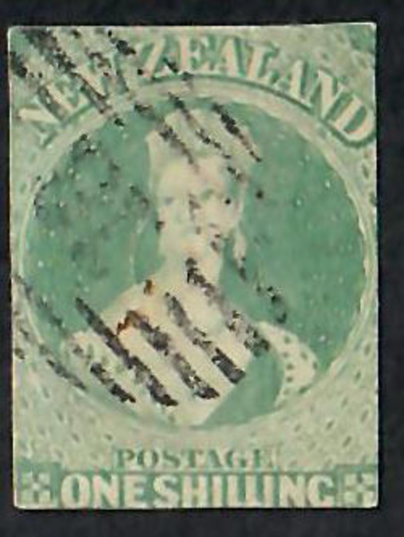 NEW ZEALAND 1855 Full Face Queen 1/- Green. Imperf. No watermark. Cut along the frame lines all round. Fine postmark. - 60082 - image 0