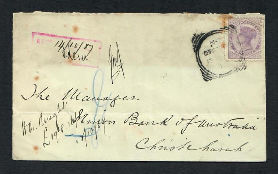 NEW ZEALAND 1887 Cover with 2d Second Sideface. Toning. - 31552 - PostalHist image 0