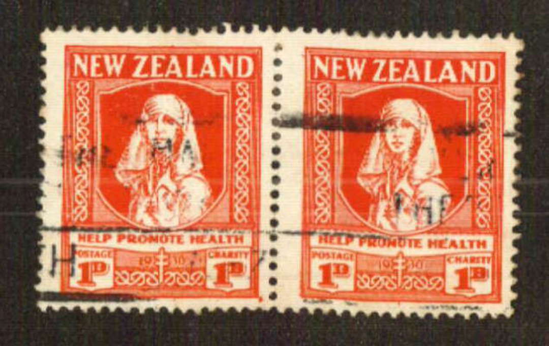 NEW ZEALAND 1930 Help Promote Health. Commercially used pair with slogan cancel. Excellent perfs. Off centre but a cery nice ite image 0