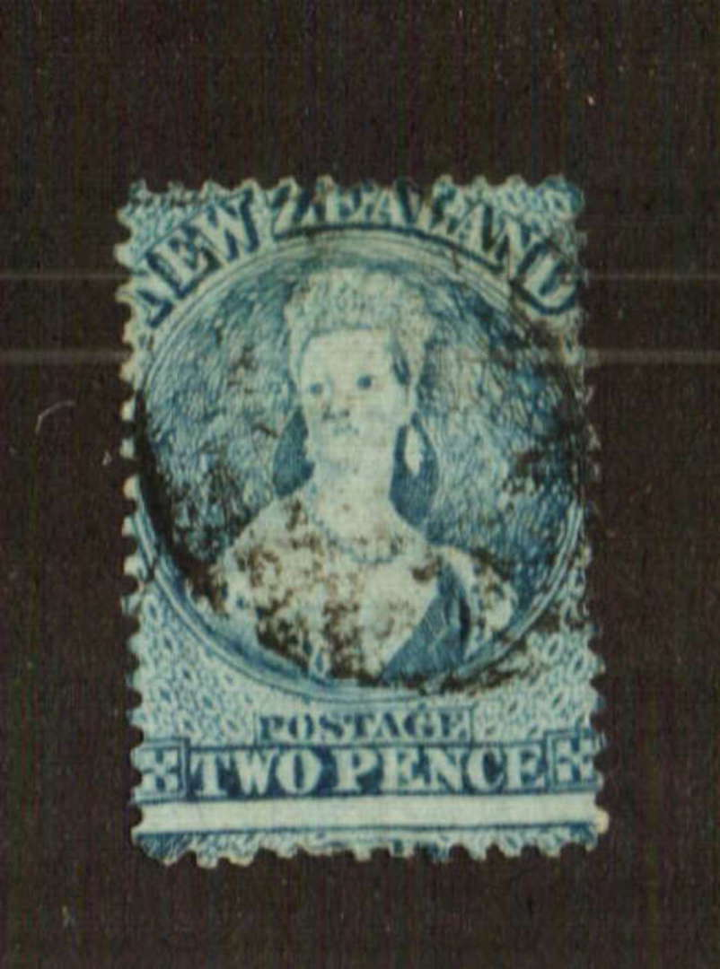 NEW ZEALAND 1862 Full Face Queen 2d Pale Blue. Watermark NZ. Perf 13 at Dunedin. Plate 1 worn. Sound copy. CP A2j (X) $NZ 300.00 image 0