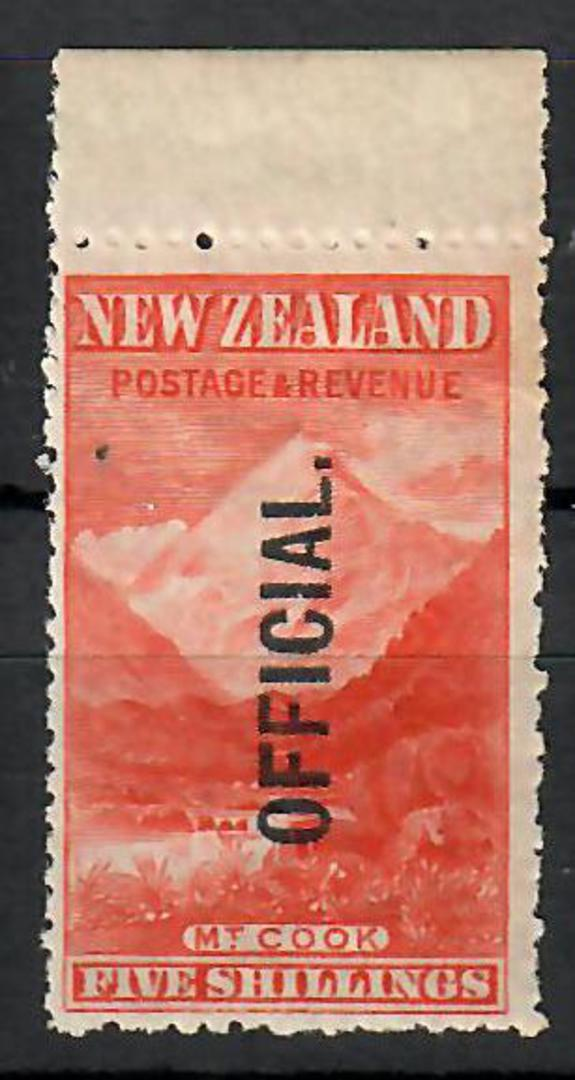 NEW ZEALAND 1898 Pictorial Official 5/- Mt Cook. - 70466 - UHM image 0