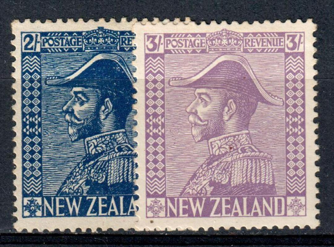 NEW ZEALAND 1926 Geo 5th Definitive 2/- + 3/- Admirals. Fine mint pair. - 74187 - Mint image 0