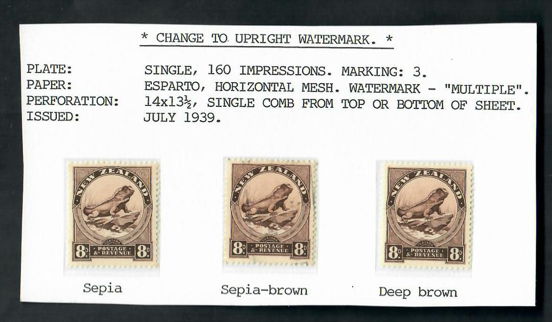 NEW ZEALAND 1935 Pictorial 8d Brown.  Upright Watermark. Three shades including unlisted Deep Brown - 20621 - image 0