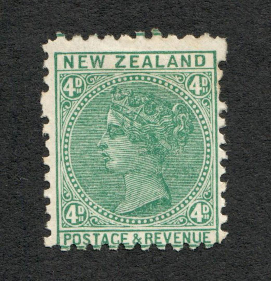 NEW ZEALAND 1882 Victoria 1st Second Sideface 4d Green. Perf 11. Two blind perfs. Good amount of original gum. - 4201 - Mint image 0