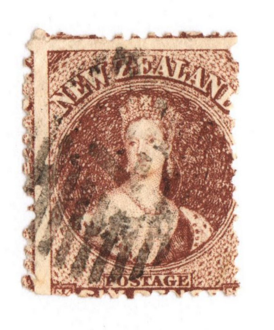 NEW ZEALAND 1862 Full Face Queen 6d Red-Brown. Perf 12½ at Auckland. Watermark NZ. Sound copy. Small crease visible only from ba image 0