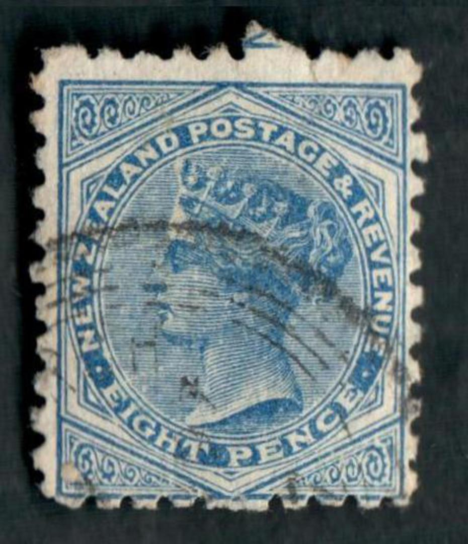 NEW ZEALAND 1882 Victoria 1st Second Sideface 8d Blue. Perf 10. 3rd setting in Brown-Purple. Sunlight Soap. - 4004 - FU image 0
