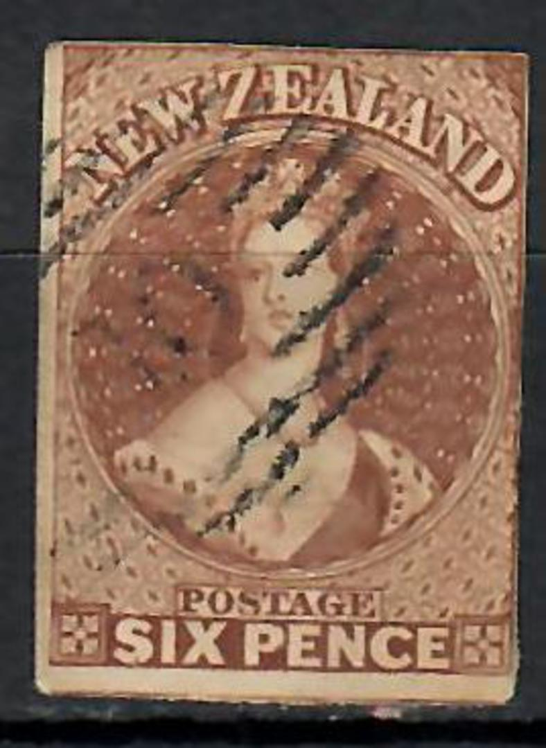 NEW ZEALAND 1855 Full Face Queen 6d Pale Brown. Imperf. No watermark.Three margins, touching on the fourth. CP A5a. SG 14. - 707 image 0