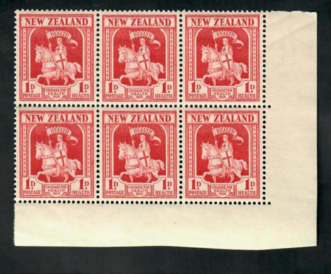NEW ZEALAND 1934 Health. Corner block of 6. Nice item. - 21549 - UHM image 0