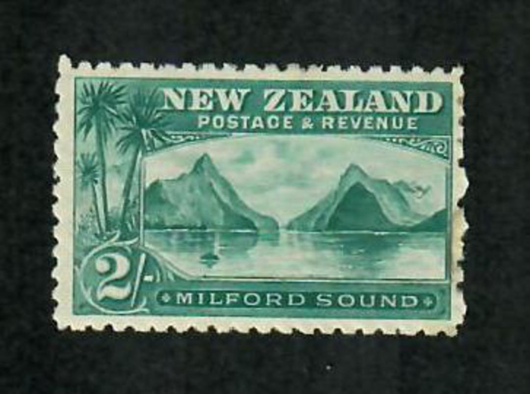NEW ZEALAND 1898 Pictorial 2/- Milford Sound. First Local Issue on Unwatermarked Paper. Perf 11. Very lightly hinged. - 75014 - image 0