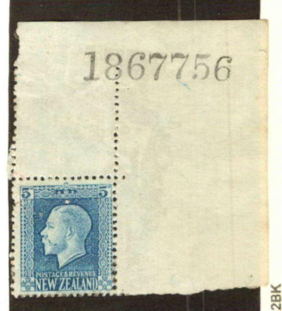 NEW ZEALAND 1915 Geo 5th Definitive 5d Blue. Top right corner with sheet number. The reverse has gum disorders and writing but l image 0