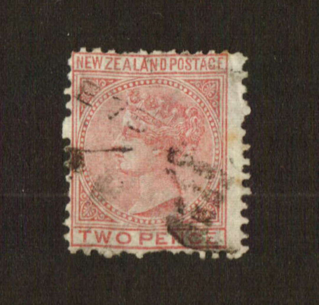 "NEW ZEALAND 1874 Victoria 1st First Sideface 2d Rose. Perf ""near 12"". Line perf. - 74665 - Used image 0"