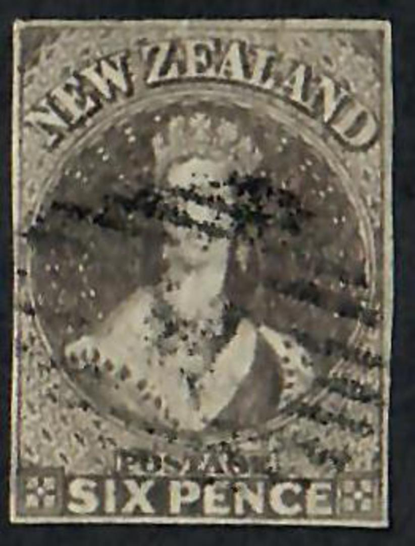 NEW ZEALAND 1855 Full Face Queen 6d Black-Brown Imperf. 4 margins. Light postmark. - 60060 - Used image 0