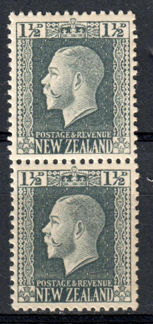 NEW ZEALAND 1915 Geo 5th Definitive 1½d Grey. Recess print. Vertical pair from Rows 4 and 5 of a sheet perf'd in full 14 x 13.25 image 0