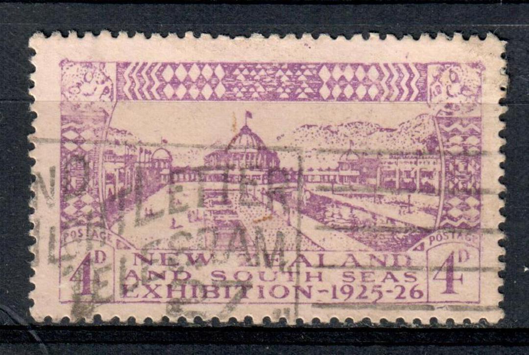 NEW ZEALAND 1925 Dunedin Exhibition 4d Purple. Commercial cancel. - 39400 - FU image 0