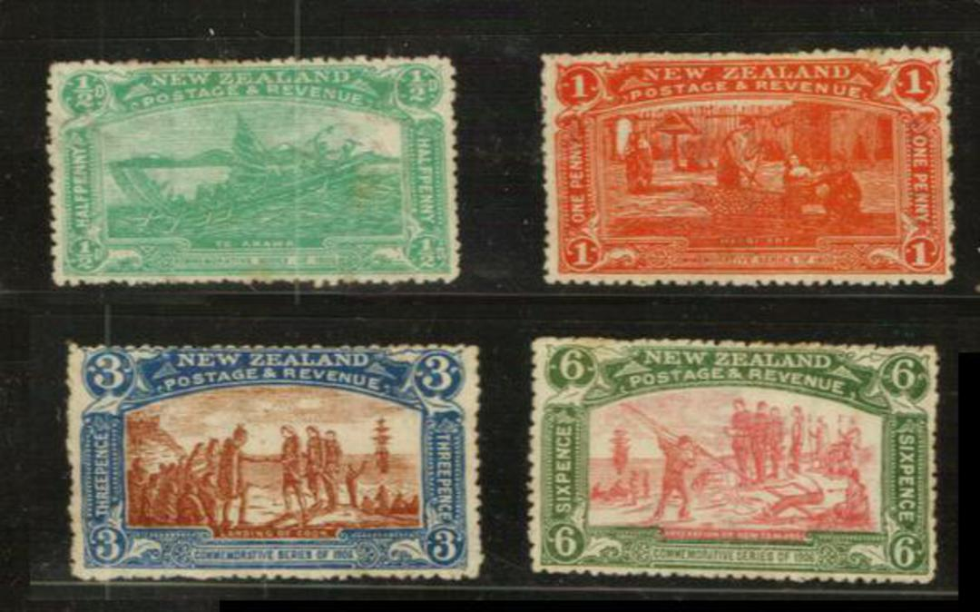 NEW ZEALAND 1906 Christchurch Exhibition. Set of 4. Looks good from the front but hinge remains or other gum defects. No toning image 0