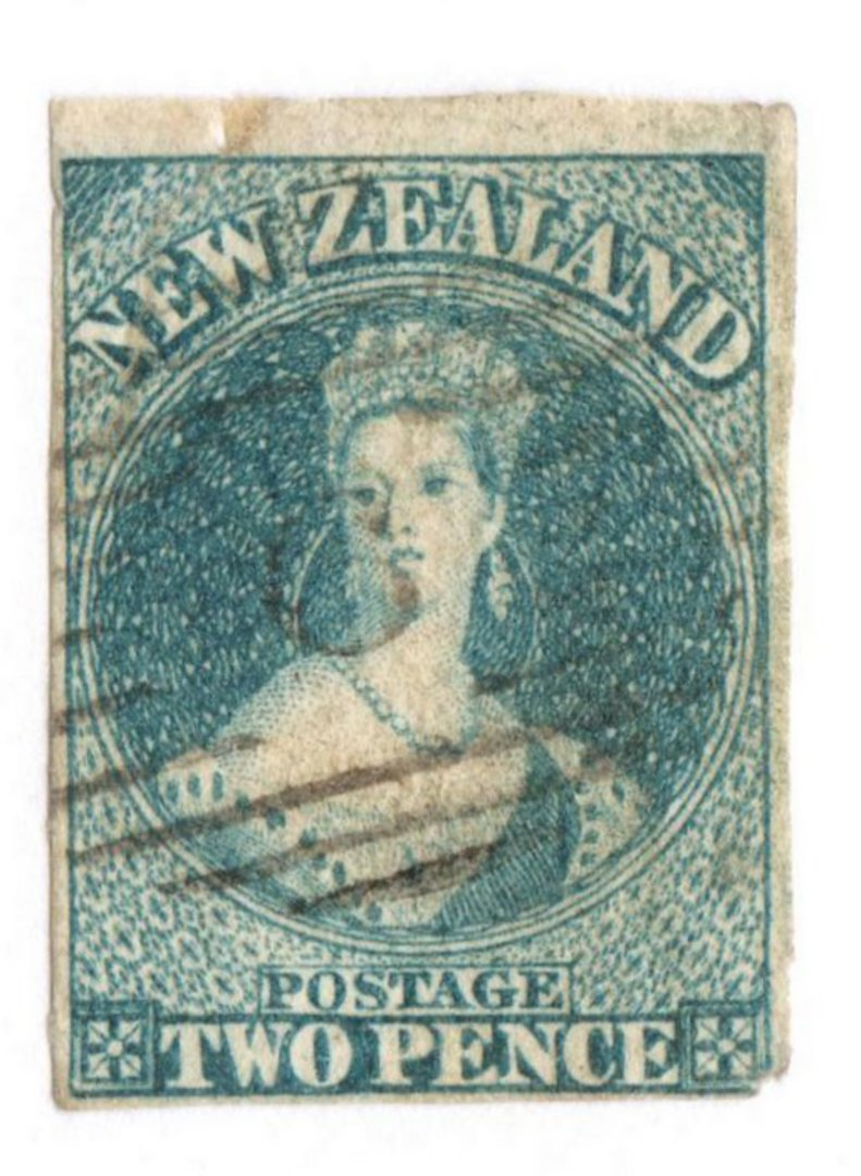 NEW ZEALAND 1855 Full Face Queen 2d Blue. Watermark Large Star. Lightly Blued Paper. Superb light cancel. Crease at top left and image 0
