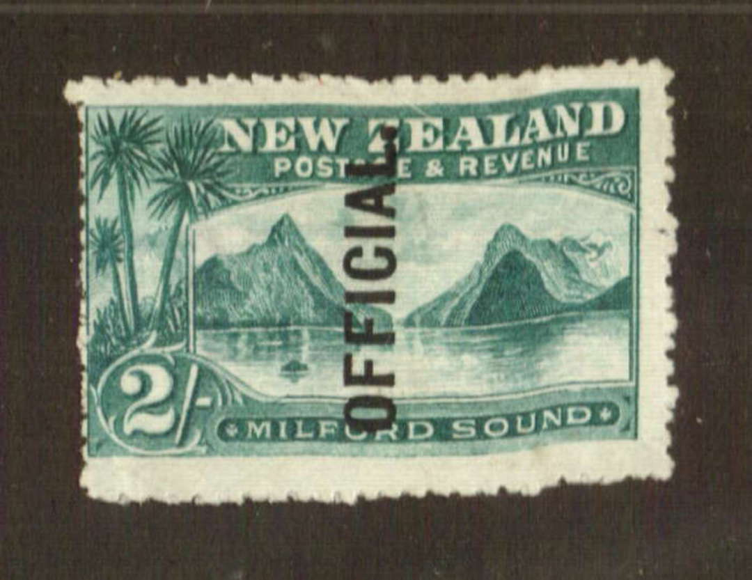 NEW ZEALAND 1898 Pictorial Official 2/- Milford Sound. Very fine copy. - 71291 - LHM image 0