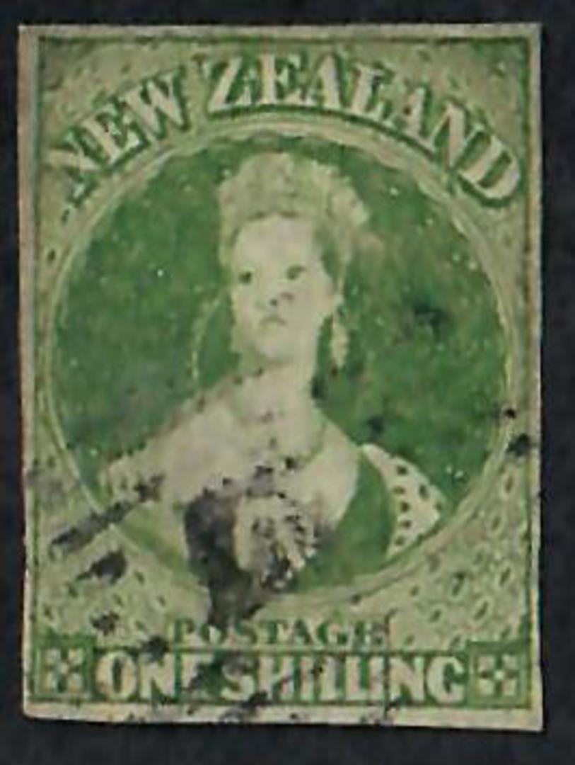 NEW ZEALAND 1855 Full Face Queen 1/- Dull Green. Imperf. 4 margins. Postmark well clear of face. - 60078 - FU image 0