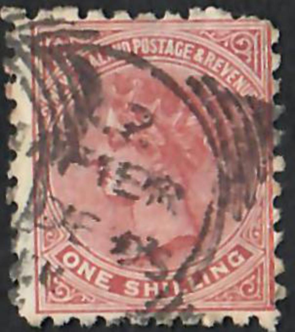 NEW ZEALAND 1882 Victoria 1st Second Sideface 1/- Red-Brown. Perf 10. 3rd setting in Red to Brown-Red. Sunlight Soap. - 4009 - U image 0