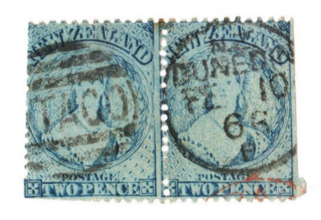 NEW ZEALAND 1862 Full Face Queen 2d Pale Blue. Plate 1. Worn. Pair. Side perfs cut into. But useful for replating. - 39423 - Use image 0