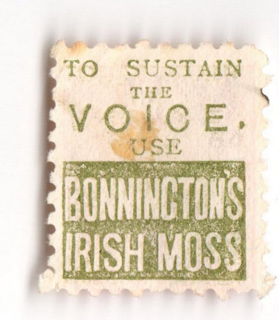 NEW ZEALAND 1882 Victoria 1st Second Sideface 1d Rose. To Sustain the Voice Bonningtons Irish Moss. Perf 10. In green. - 3969 - image 0