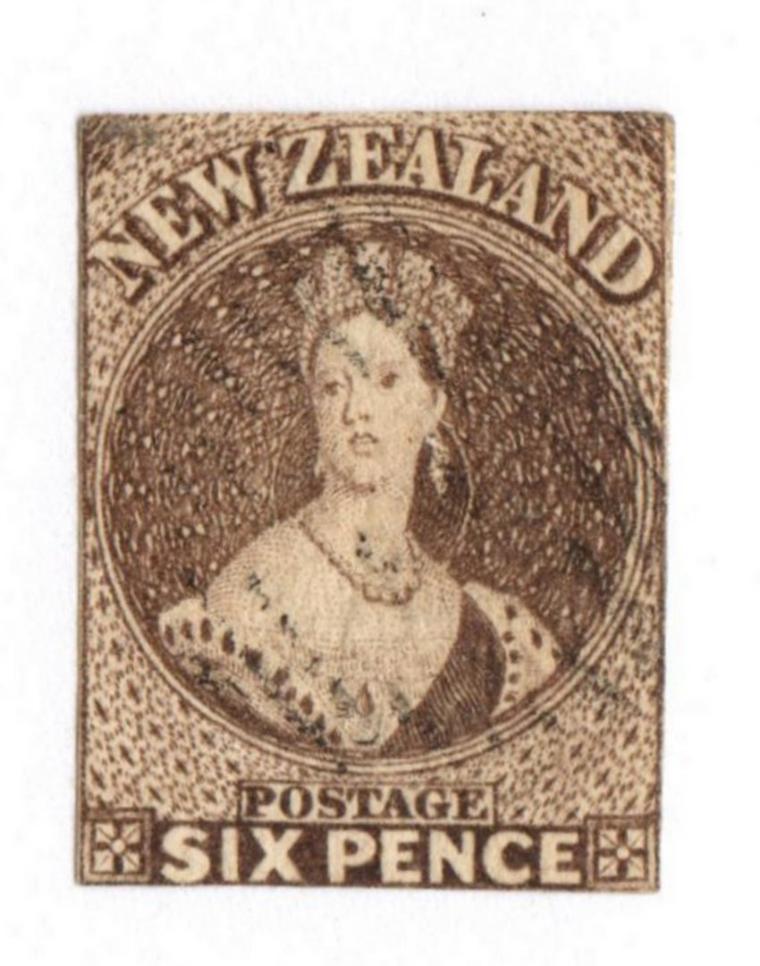 NEW ZEALAND 1862 Full Face Queen 6d Black-Brown. Pelure paper. Imperf. Nice copy cut square mostly touching. Very light cancel. image 0