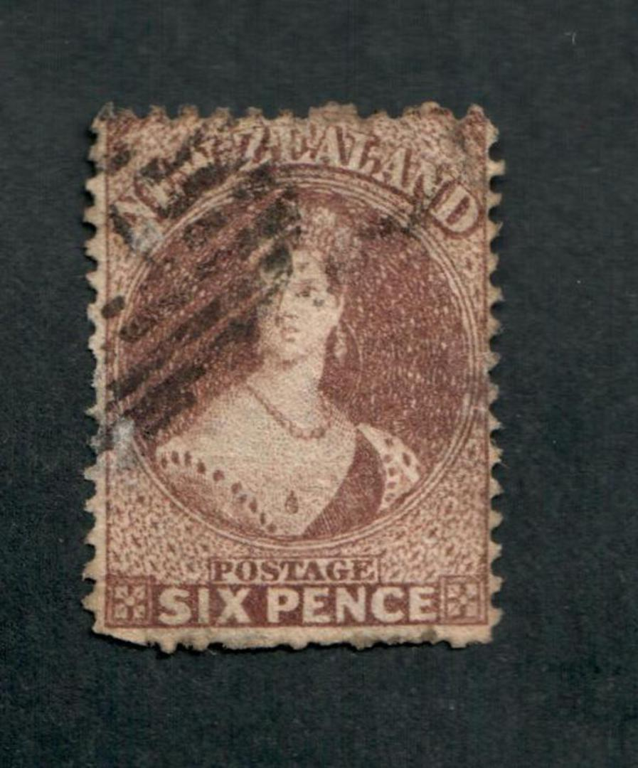NEW ZEALAND 1862 Full Face Queen 6d Dull Red-Brown. Perf 12½. Watermark Large Star. Thin Perf faults. Cat val by CP with faults image 0