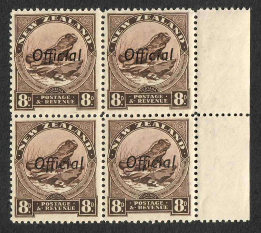 NEW ZEALAND 1935 Pictorial Official 8d Tuatara. Perf 12½. Block of 4. - 75031 - UHM image 0