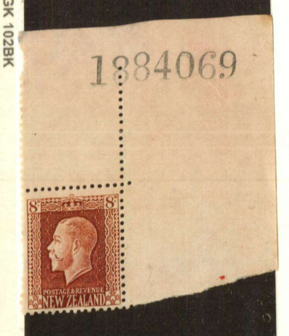 NEW ZEALAND 1915 Geo 5th Definitive 8d Brown. Top right corner with sheet number. The reverse has gum disorders but looks good f image 0