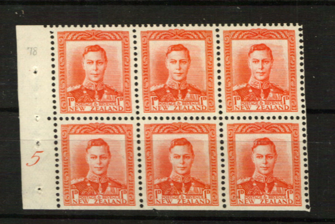 NEW ZEALAND 1938 Geo 6th Definitive 1d Red. Booklet Pane from W6a with inverted watermark and Plate 5. Very rare. - 21851 - LHM image 0