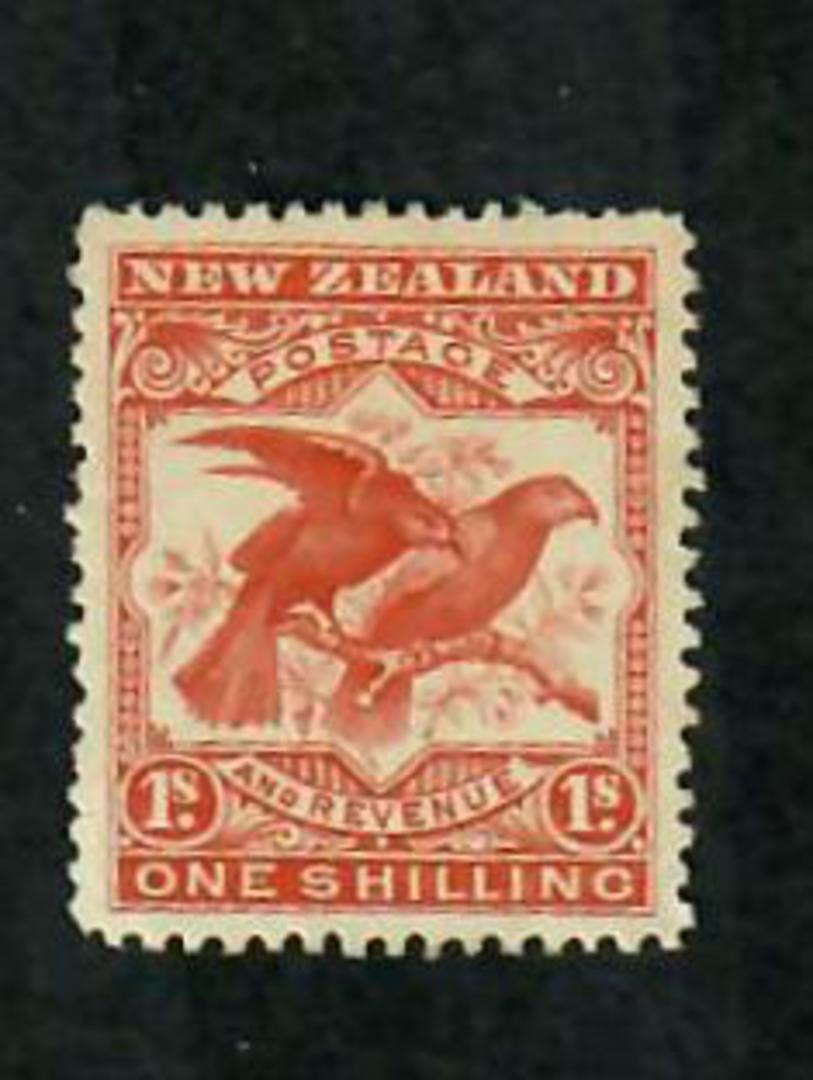 NEW ZEALAND 1898 Pictorial 1/- Kaka Brownish-Orange. London Print. - 74864 - UHM image 0
