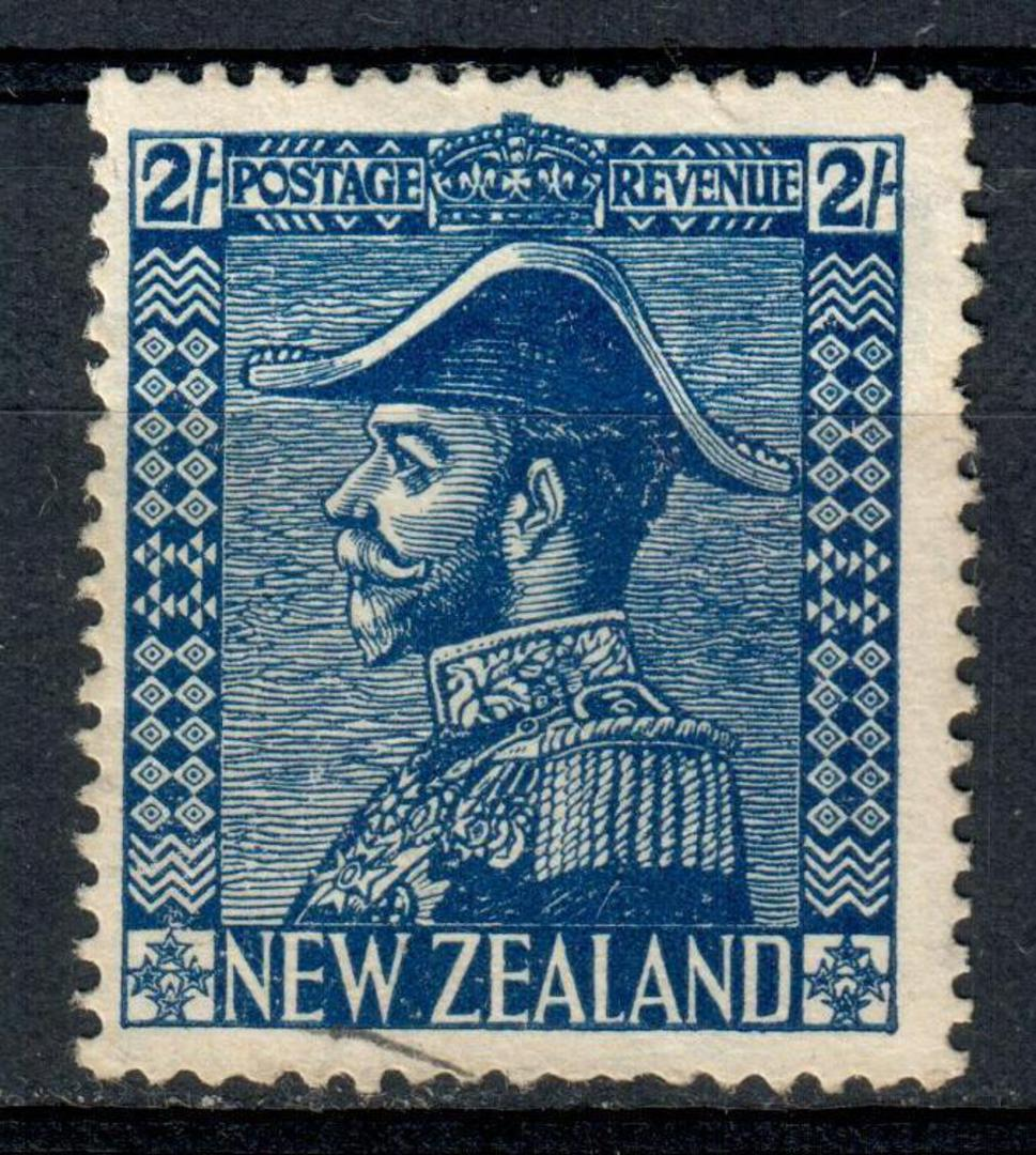NEW ZEALAND 1926 Geo 5th Admiral Definitive 2/- Blue. Original gum. Discuss with me. Something seems not quite right. - 75206 - image 0