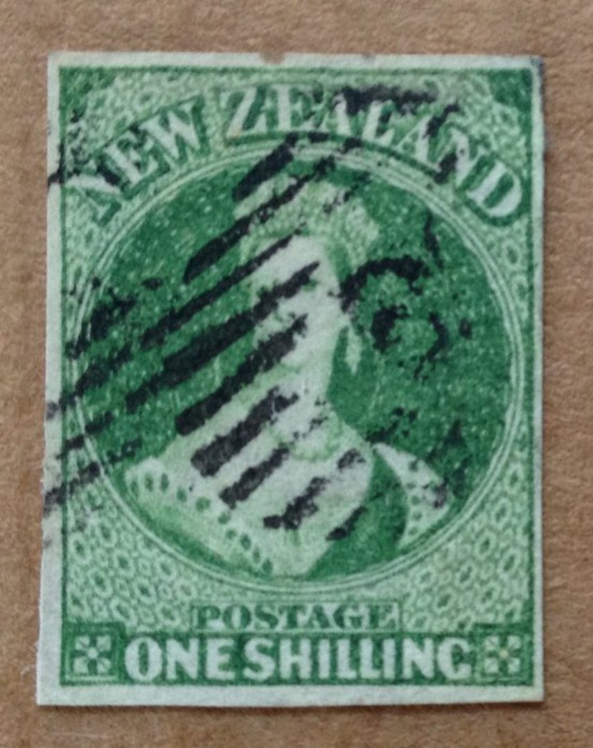 NEW ZEALAND 1855 Full Face Queen 1/- Green. Watermark NZ. Four margins. Medium-Light postmark but it does cover the face. - 7163 image 0