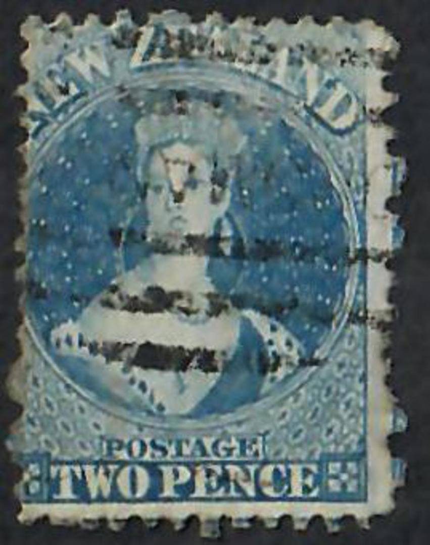 NEW ZEALAND 1862 Full Face Queen 2d Blue Perf 12½. Good example. - 60002 - Used image 0