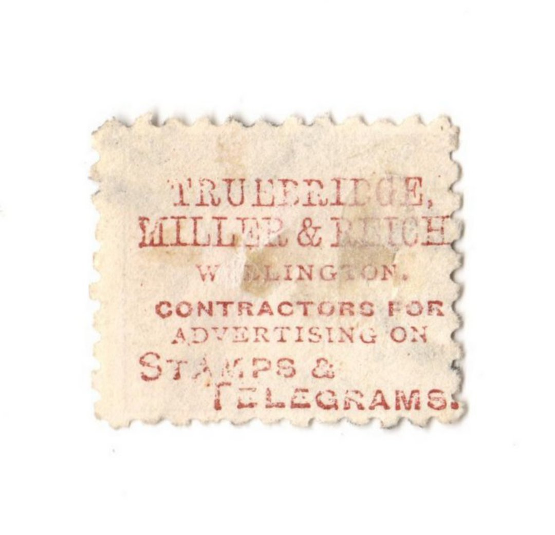 NEW ZEALAND 1882 Victoria 1st Second Sideface 6d Brown. Truebridge Millar. Perf 10. Mauve to Brown-Purple. Parcel cancel. - 3982 image 0
