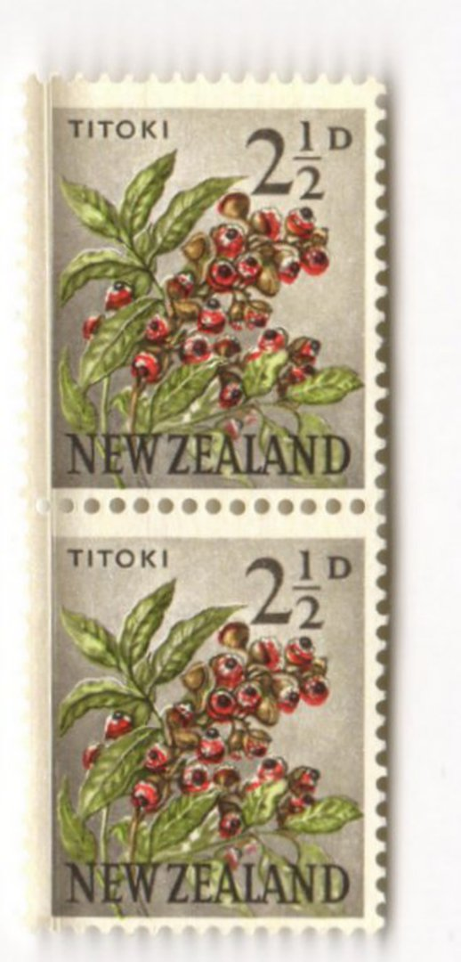 NEW ZEALAND 1960 Pictorial 2½d Titoki. Major printing flaw top left. Joined pair. - 3526 - UHM image 0