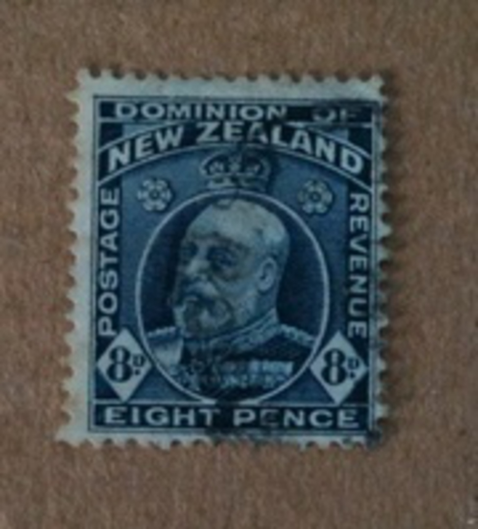 NEW ZEALAND 1916 Edward 7th Definitive 8d Indigo-Blue. Provisional issue on pictorial paper. Perf 14 line.  Watermark 7a. - 7464 image 0