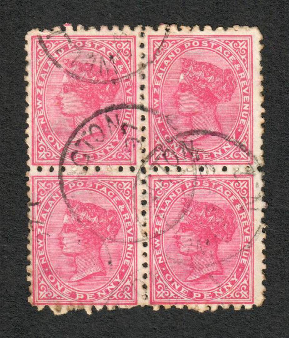 NEW ZEALAND 1882 Victoria 1st Second Sideface 1d Red. Block of 4. - 75162 - VFU image 0