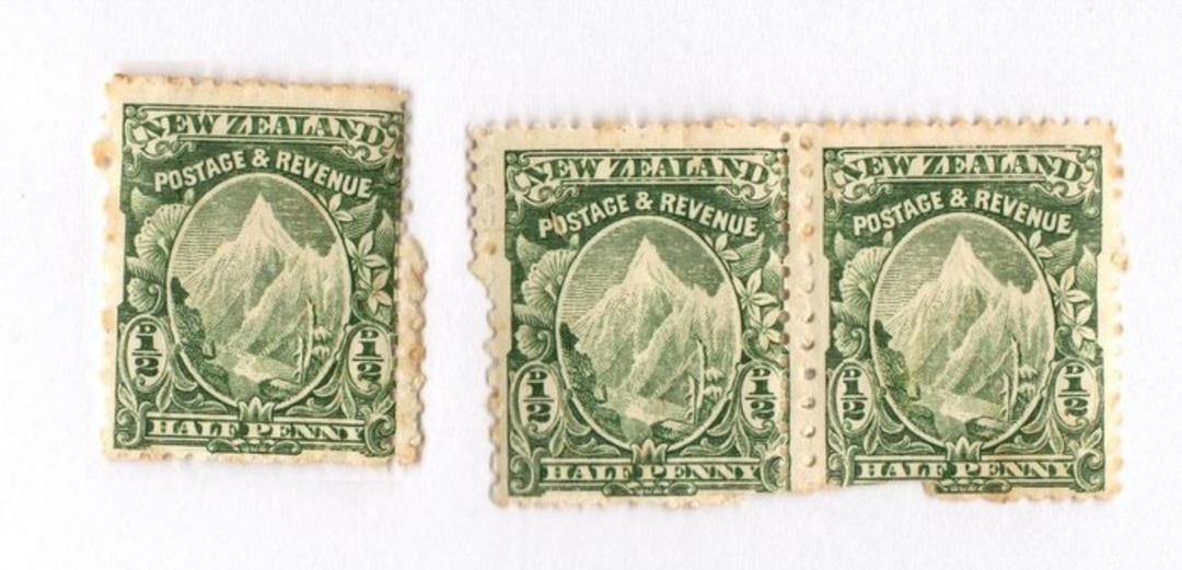 NEW ZEALAND 1898 Pictorial ½d Mt Cook Green Mixed Perfs. Pair and single that has become separarted. Light toning. - 74039 - Min image 0